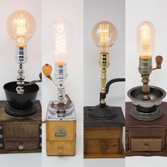"Timeless Pieces of Functional Art.""Reilluminating the Past with ever touch"" Touch Lamp, Vintage Coffee, Lamps, Bulb, Rustic, Lighting, House, Home Decor, Recycled Lamp"