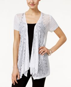 Style & Co. Pointelle-Knit Open-Front Cardigan, Only at Macy's