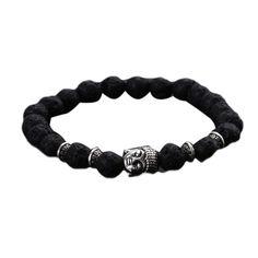 2017 Fashion Unisex Charm Punk Lava Natural Stone Head Buddha Beaded Rock Handmade Bracelet Jewelry For Women And Men