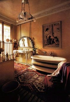 "(BrandonRugs.com) For those with concerns about ""mixing patterns with patterns"": Can you appreciate how great it can look when approached with panache as in this Bohemian style bath?"