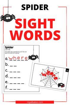Spider Sight Word Activity - Royal Baloo
