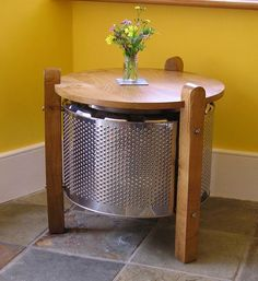 Washing-machine drum and oak coffee table. This is so cool!