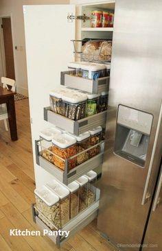 Kitchen Organization Pantry, Kitchen Storage Solutions, Diy Kitchen Storage, Pantry Storage, Kitchen Shelves, Kitchen Pantry, Diy Storage, New Kitchen, Organization Ideas