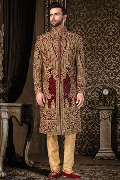 Wedding Sherwani, Jodhpuri Sherwani, Sherwani, Sherwani for Men, Western Sherwani. The attire gives a strong ethnic edge to men and has proved itself as one of the classic Indian attire not only in India but also globally.