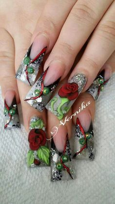 Duck Flare Nails, Duck Nails, Beautiful Nail Art, Gorgeous Nails, Cross Nails, Wide Nails, Curved Nails, Encapsulated Nails, Super Cute Nails