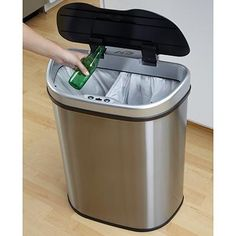 18.5-gallon Stainless Steel Motion Sensor Recycle Trash Can By Nine Stars -New