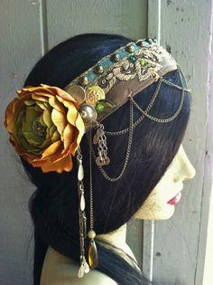 Custom Headpiece HeaddressTribal Fusion Belly by theverdantmuse