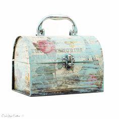 Boîte de carte bleue Shabby Chic pastel - titulaire de la boîte de carte de mariage - Boîte à bijoux