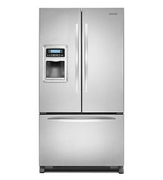 Keep fruits and veggies fresh for longer time by using this KitchenAid French Door Monochromatic Stainless Steel Refrigerator Counter Depth. Best French Door Refrigerator, Counter Depth Refrigerator, Stainless Steel Refrigerator, Kitchenaid Refrigerator, Kitchen Centerpiece, Kitchen Aid Appliances, French Doors, Kitchen Remodel, Refrigerators
