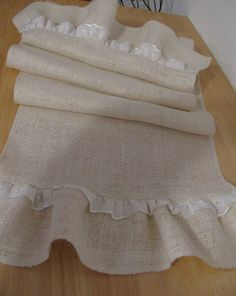 Ruffled Burlap Table Runner 72 X 14 White Wedding Tablecloth