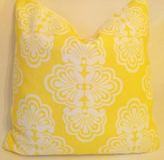 "Lilly Pulitzer Lee Jofa Shell We Dandelion Yellow Linen Custom Pillow, Throw Pillow, Decorative Pillow 18""x18"" by yorkshiredesigns on Etsy"