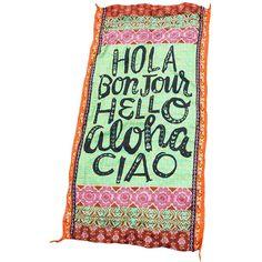 Hola Bonjour Hello Aloha Ciao Stylish Beach Towel LAVELIQ