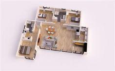 MALAGA DONACASA 130 m2 Bungalows, Malaga, Villa, Home Projects, Ideas Para, House Plans, New Homes, Floor Plans, 1