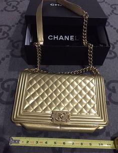 409083adfd832 100% AUTHENTIC RARE CHANEL LE BOY BAG METALLIC PATENT LARGE FLAP IN GOLD  CAVIAR  purses  fashion
