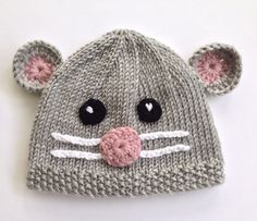 Hand-knitted Mouse Hat for babies. Knitted Gray by NoahandNoo ♡♡