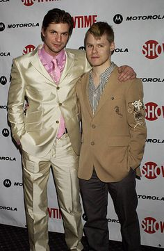 Actors Gale Harold and Randy Harrison pose at the premiere of the fourth season of Showtime's 'Queer as Folk' on March 31 2004 at the Gramercy Park...