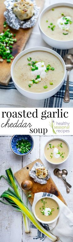 This Roasted Garlic Cheddar Soup will warm you up from the inside out! It is filled with yummy cheddar cheese and roasted garlic making it the perfect winter comfort food and gluten-free meal! #glutenfree #soup #healthyrecipe