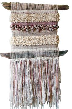 beautiful way to use beach finds on a small fine thread needle weaving loom Weaving Textiles, Weaving Art, Tapestry Weaving, Loom Weaving, Hand Weaving, Wall Tapestry, Textile Fiber Art, Weaving Projects, Woven Wall Hanging