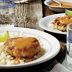 Tilapia Cakes with Mango-Coconut Curry Sauce   CookingLight.com #myplate #protein #fruit