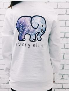 Long Sleeve T-shirt Printed Elephant 100% Knitted Cotton