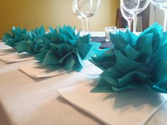 100 Teal Paper Dahlias. Napkin rings, party decor, baby shower and fun weddings. Tissue paper pom pom flowers. $110.00, via Etsy.