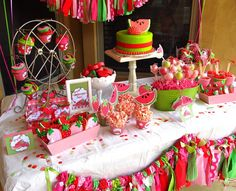 Watermelon & Strawberry Party. I love the Ferris wheel cupcake holder!