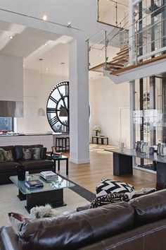 NYC's Clock Tower Penthouse @ the Dumbo. City Living, My Living Room, Home And Living, Living Spaces, Living Area, Style At Home, Interior Architecture, Interior And Exterior, Luxury Penthouse