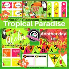 It's time to get those laminators ready! Give your classroom a summer makeover! This bundle includes: - welcome sign - posters - birthday bunting & chart - tropical bunting - stationery labels - blank labels - table numbers - door hangers. Classroom Birthday, Classroom Door, Classroom Themes, Birthday Charts, Birthday Bunting, Blank Labels, Teaching Aids, Tropical Paradise, My Teacher