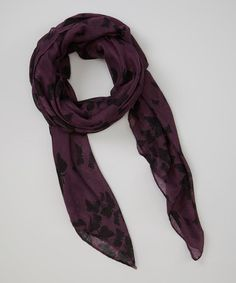 This Purple & Black Butterflies Scarf is perfect, $10 !!  #zulilyfinds
