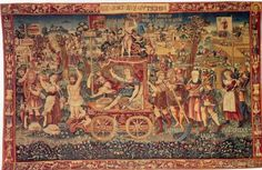 This Tapestry is called a Summers Triumph and it was created in Bruges in 1538. it is presently be held at the National Museum in Bayerisches. If you look closely you can see several UFOs or disc like objects at the top of the tapestry in the sky.
