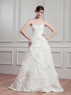 Renatha - Herz-Ausschnitt A-Linie Taft Brautkleid mit Perlenstickerei