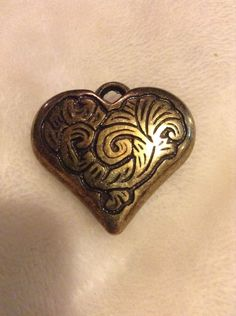 Vintage Gold Colored Heart Shaped Pendant #1160 #Pendant