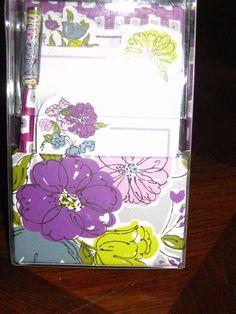 Vera Bradley Watercolor On That Note Magnetic  Pen and Three Pad Set NIB