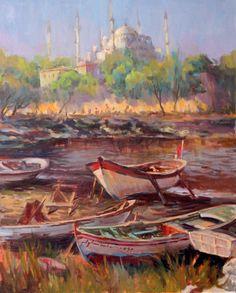ayhan türker Decoupage, Amazing Art, Istanbul, Landscapes, Paintings, Murals, Projects, Art, Paisajes