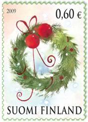 Joulupostimerkki 2009 1/2 - Ovikranssi Christmas stamp 2009 Finland