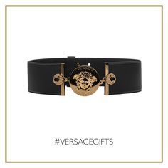 Go glamorous and surprise everybody wearing this #Versace Medusa medallion belt on an elegant outfit. #VersaceWomenswear #VersaceGifts