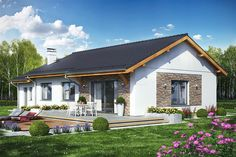 Wizualizacja DL Terrier 4 z garażem CE Bungalow Exterior, Dream House Exterior, Back Garden Landscaping, House Front Porch, Utila, Simple House Plans, House Wiring, Small House Design, Facade House