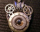 Smiling Owl Steampunk Pendant Altered Jewelry No 221