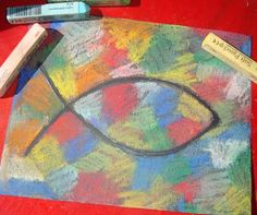 Jesus Fish Craft: on black construction paper, run a bead of glue in shape of fish and let dry overnight. Have children color over picture with colored chalk and blend colors with their fingers. Use a moistened finger to wipe off chalk from the fish outline.  Great craft!