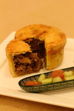 Kosha mangsho pie - spiced mutton and potatoes in pate brisee pastry with salad
