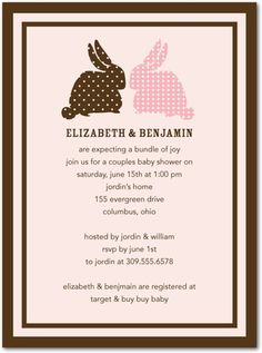 Baby Shower Invitations Baby Bunnies - Front : Chenille