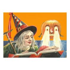 Witch Reading Jack O Lantern Pumpkin Invite