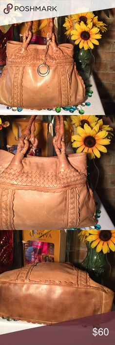 Elliot Lucca Bag Small handbag Sz 9x13- (2) 7' straps- Good logo hardware- Good condition- Super soft Genuine leather- Clean lining- Needs cleaning at bottom other than than it's in good shape. Very nice bag. Elliot Lucca Bags Satchels