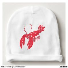 Red Lobster Baby Beanie  Available on many more clothing products including baby, kids and adults. Search the design name in the search bar on my Zazzle product page to see all products!  #lobster #red #baby #child #toddler #infant #clothing #apparel #fashion #style #chic #zazzle #contemporary #cute #drawing #sketch #illustration #cool #neat #sweet #buy #sale #for