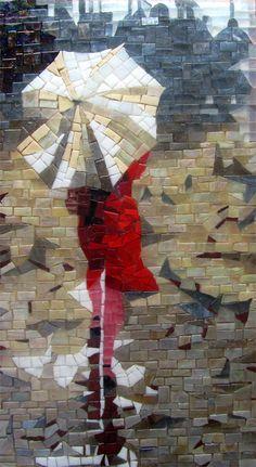 Tableau mosaïque en verre découpé à la main Femme en rouge
