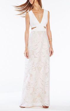 f082acf806e0f Bcbg Max Azria Womens Marilyne Lace Cutout Evening Dress, Size: Off White
