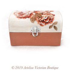Terracotta Rose Box Wood Tea Chest Shabby Farmhouse Chic   Etsy Handmade Shop, Etsy Handmade, Wooden Jewelry, Unique Jewelry, Jewelry Box, Jewellery, Shabby Chic Farmhouse, Anniversary Jewelry, Box Art