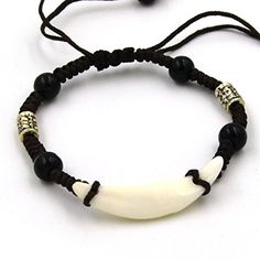 HZman Tibetan Style Real Wolf Tooth Silver Beads Adjustable Cord Bracelet, Prehistoric Caveman Tribal >>> Read review @…
