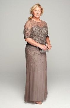 Sequined and beaded gowns for the Mother of the Bride. Embellished and sequin dresses beautiful and elegant Mother-of-the-Bride wedding attire. Mother Of The Bride Plus Size, Mother Of The Bride Gown, Mother Of Groom Dresses, Bride Groom Dress, Bride Gowns, Mothers Dresses, Mother Bride, Vestidos Plus Size, Plus Size Dresses