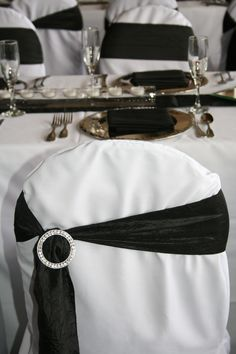 White chair cover with black crinkle off center sash & added bling. Wedding Chair Sashes, Wedding Chairs, White Chair Covers, Crinkles, Real Weddings, Wedding Decorations, Bling, Fashion, Moda